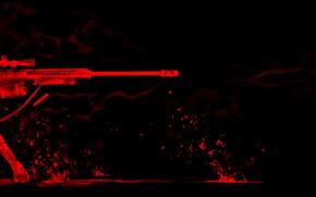Picture red, girl, smile, sniper, Gunslinger Girl