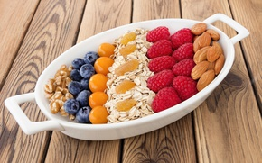 Picture berries, raspberry, blueberries, nuts, fresh, almonds, blueberry, berries, raspberry, cereal