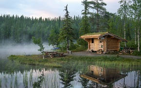 Picture forest, lake, reflection, hut, Norway