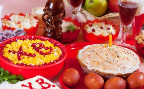 Picture eggs, Easter, Holiday, cake, salad