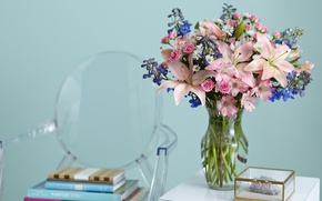 Picture flowers, Lily, books, roses, chamomile, bouquet, vase