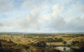 Picture landscape, tree, oil, picture, Andreas Schelfhout, View of Haarlem
