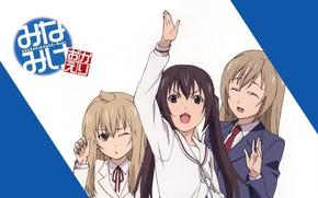 Picture emotions, gesture, school uniform, art, three girls, two tails, sailor, minami-ke, koharu sakuraba, sister mine, …
