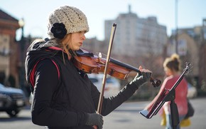 Picture girl, face, music, street, violin