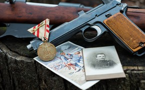 Picture gun, photo, medal, rifle, 1915, Steyr M95, Astro-Hungarian