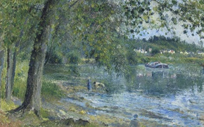 Wallpaper nature, Camille Pissarro, landscape, picture, The banks of the River Oise in Auvers-sur-Oise