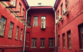 Picture city, house, the building, red, windows, europe, architecture, belarus, cityscape, Minsk
