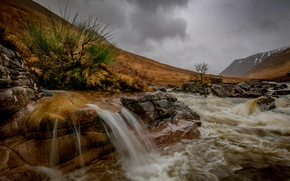 Picture autumn, mountains, clouds, river, stones, waterfall, Scotland