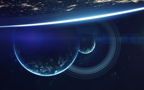 Wallpaper light, planets, cosmos, Sci fi, colors