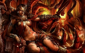 Picture snakes, monster, armor, scales, mouth, fangs, cave, demoness, the throne, thick, Welcome to Hell