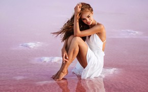 Picture water, the sun, pose, smile, barefoot, makeup, dress, hairstyle, brown hair, legs, sitting, in white, ...