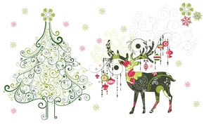 Picture snowflakes, holiday, toys, minimalism, vector, deer, art, New year, herringbone