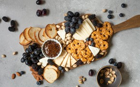 Picture food, cheese, cookies, grapes, nuts, BlackBerry