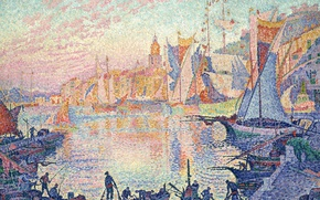 Picture boat, picture, sail, the urban landscape, Saint-Tropez, Paul Signac, pointillism