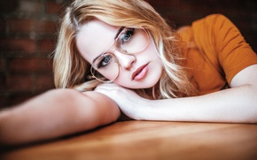 Picture look, girl, table, portrait, makeup, glasses, hairstyle, blonde, beauty, bokeh