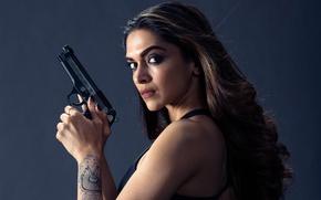 Picture girl, gun, background, the film, makeup, tattoo, hairstyle, action, Deepika Padukone, Three x: World domination, ...
