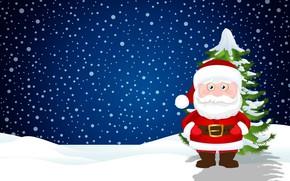 Picture Winter, Minimalism, Snow, New Year, Christmas, Snowflakes, Background, Santa, Tree, Holiday, Santa Claus, Tree, Santa …
