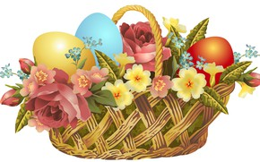 Picture flowers, basket, eggs, Easter
