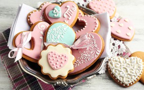 Picture cookies, tape, hearts, glaze, cookies, Valentine's day, Valentines's Day