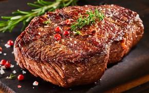 Wallpaper Greens, Pepper, Steak, Meat