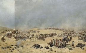 Picture desert, camels, Nikolay KARAZIN, Khiva campaign 1873, The transition of the Turkestan detachment