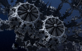 Picture space, fractals, stars, starbase, space base