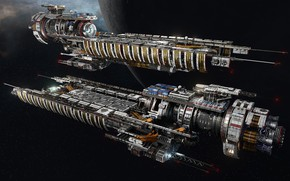 Picture space, planet, ships, Fractured Space, USR Disruptor