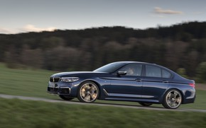 Picture road, field, forest, the sky, hills, vegetation, BMW, sedan, 5, dark blue, four-door, 2017, 5-series, …