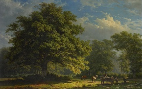 Picture landscape, picture, canvas, View Of Bentheim Forest, George Andries Roth
