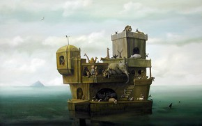 Picture sea, animals, children, the old man, sharks, the ark, Surrealism, Lazarev I. A
