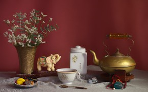 Picture flowers, tea, kettle, Cup