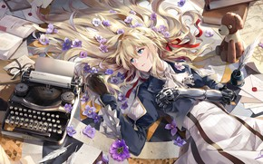 Wallpaper girl, flowers, anime, Violet Evergarden