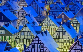 Picture winter, roof, lights, Windows, home, the evening, Germany, North Rhine-Westphalia, Freudenberg