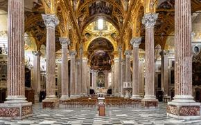 Wallpaper Italy, columns, bench, Basilica, Genoa, the nave, Santissima Annunziata del Vastato