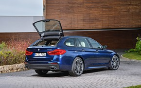 Picture lawn, vegetation, the building, BMW, Parking, universal, xDrive, Touring, 530d, 5, dark blue, 2017, 5-series, …