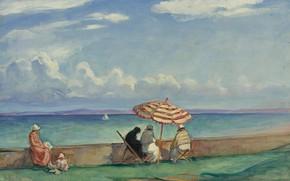 Picture landscape, picture, Henri Lebasque, Henri Lebacq, The umbrella on the Terrace at Morgat