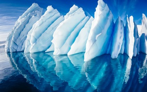 Picture sea, the sky, reflection, the ocean, ice, glacier