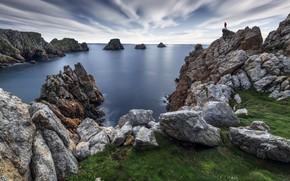Picture sea, rocks, shore, people