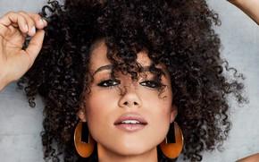 Picture face, portrait, piercing, actress, curls, Nathalie Emmanuel