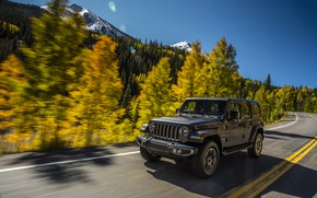Wallpaper road, forest, the sky, trees, mountains, movement, markup, roadside, 2018, Jeep, dark gray, Wrangler Sahara