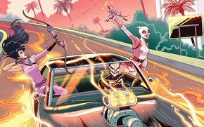 Picture Girls, Road, Fire, Machine, Heroes, Costume, Bow, Mask, Comic, Ghost Rider, Ghost rider, Flame, Car, …