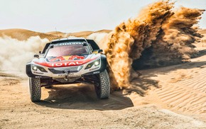 Picture Sand, Auto, Sport, Machine, Speed, Race, Peugeot, Lights, Red Bull, Rally, Dakar, Dakar, Rally, Sport, ...