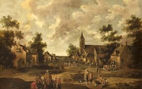 Picture landscape, picture, The Jost Cornelis Dropcloth, Village Street