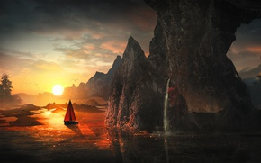 Picture sail, river, rocks, the sun, sunrise, fantasy, water, art, mountains, light, boat