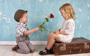 Picture girl, surprise, smile, gives rose, boy