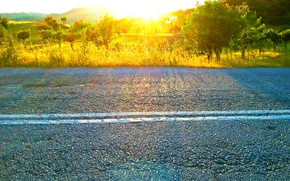 Picture road, spring, Greece, sunlight effect