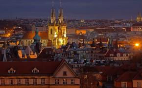 Picture night, lights, home, Prague, Czech Republic, panorama