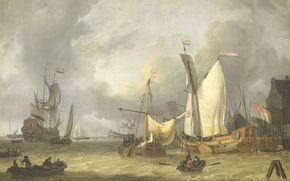 Wallpaper oil, picture, sail, canvas, seascape, Jan Claesz Rietschoof, The ships in the Harbor. Fresh Wind