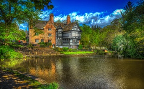 Picture greens, trees, house, pond, HDR, garden, UK, mansion, the bushes, Greater Manchester, Salford
