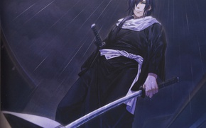 Picture night, rain, katana, scarf, samurai, Japanese clothing, demons pale cherry, hakuouki shinsengumi kitano, yone kazuki, …